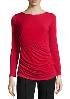 Tahari Ruched Long-Sleeve Tee