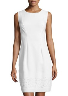 Tahari Laser-Cut Hem Pleated Dress