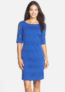 Tahari Lasercut Ponte Shift Dress (Regular & Petite)