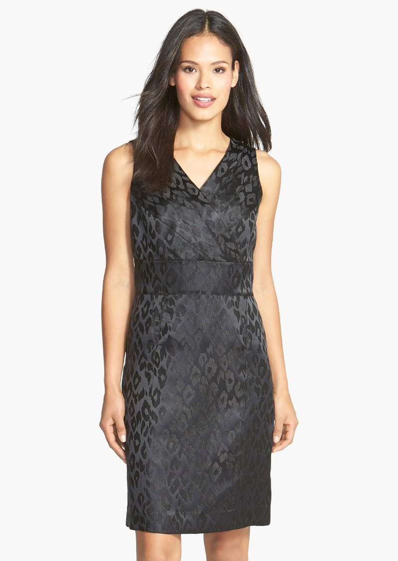 Tahari Leopard Jacquard Sleeveless Sheath Dress (Petite)