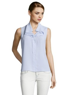 Tahari light iris ruffled collar sleeveless blouse