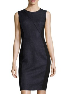Tahari Linen-Blend Contrast-Panel Sheath Dress