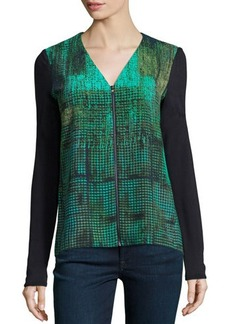 Tahari Long-Sleeve Zip-Front Printed Blouse  Long-Sleeve Zip-Front Printed Blouse