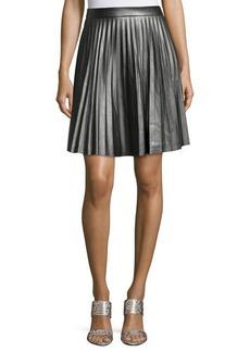 Tahari Louisa Faux-Leather Pleated A-Line Skirt