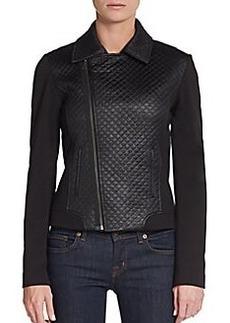Tahari Mae Quilt-Paneled Moto Jacket