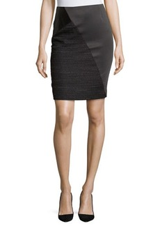 Tahari Marcelina Mixed-Media Tweed Skirt