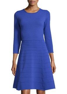 Tahari Mary 3/4-Sleeve Honeycomb Fit & Flare Knit Dress