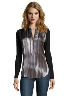 Tahari metal wire woven and stretch knit panel 'Patrice' henley blouse