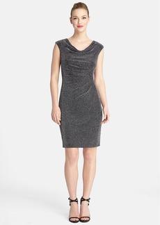 Tahari Metallic Cowl Neck Sheath Dress (Regular & Petite)