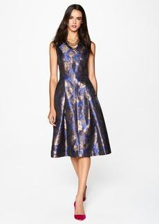 Tahari Metallic Jacquard Fit & Flare Midi Dress