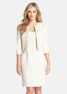 Tahari Metallic Jacquard Jacket & Dress