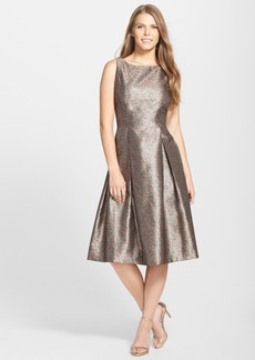 Tahari Metallic Jacquard Pleated Midi Dress