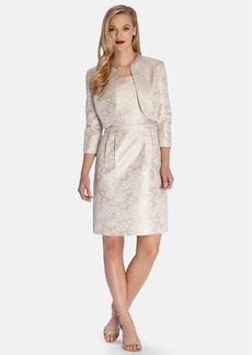Tahari Metallic Jacquard Sheath Dress with Embellished Jacket (Regular & Petite)