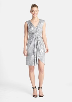 Tahari Metallic Jersey Twist Front Dress