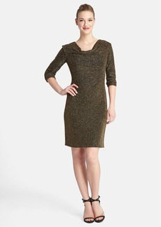 Tahari Metallic Knit Drape Neck Sheath Dress