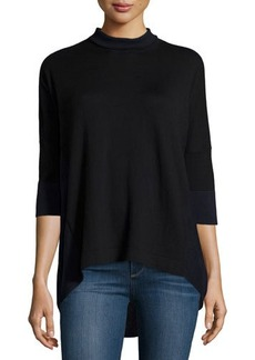 Tahari Mock-Neck High-Low Sweater