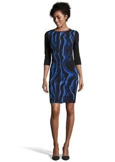 """Tahari mystery marmose print 3/4"""" sleeve &squot;Angie&squot; mixed media dress"""