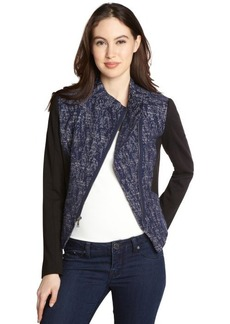 Tahari navy asymmetrical zip 'Viola' jacket
