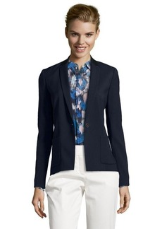 Tahari navy fluid twill faux leather trimmed 'Ellen' jacket