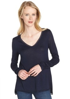 Tahari navy sapphire cotton blend 'Johanna' v-neck sweater