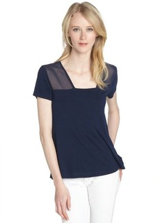 Tahari navy stretch semi-sheer 'Padma' short sleeve t-shirt
