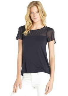 Tahari navy stretch 'Shanley' short sleeve semi-sheer accent tee