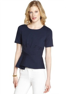 Tahari navy stretch short sleeve 'Colby' peplum blouse