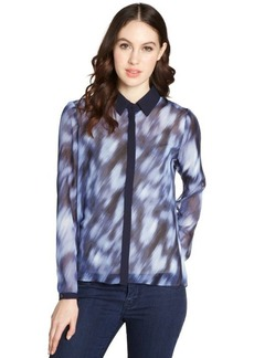 Tahari navy yard 'Chelsea' button front blouse