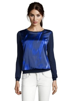 Tahari navy yard smoke screen 'Kennedy' long sleeve blouse