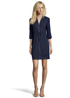 Tahari navy yard stretch woven 'Martina' zip front long sleeve dress