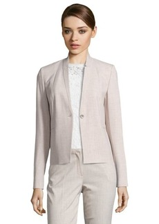 Tahari neutral woven 'Tristen' notched collar long sleeve jacket