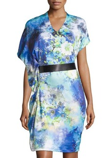 Tahari Olivia Belted Draped Floral Knit Dress