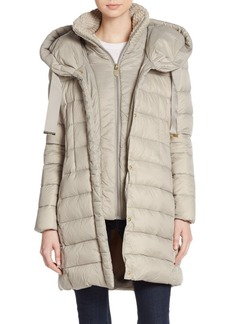 Tahari Olivia Knit-Collar Puffer Coat