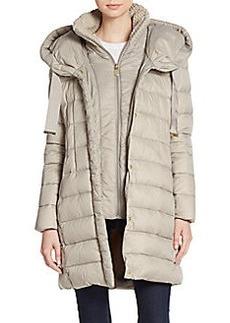 Tahari Olivia Knit-Collar Puffer Coat