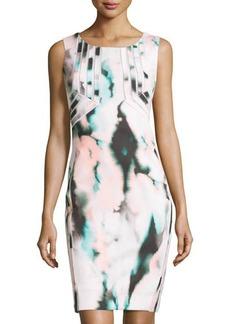 Tahari Oriely Sleeveless Printed Scuba Dress