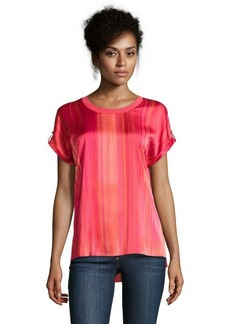 Tahari piazza pink printed stretch woven 'Ilana' blouse