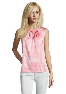 Tahari pink stretch woven snake print sleeveless 'Kree' blouse