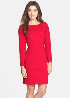 Tahari Pleat Detail Long Sleeve Ponte Sheath Dress (Regular & Petite)