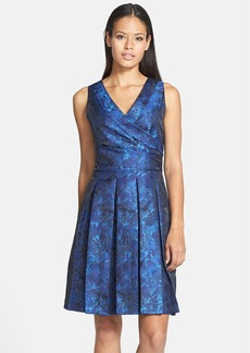 Tahari Pleat Jacquard Fit & Flare Dress