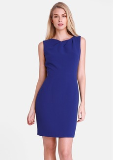 Tahari Pleated Neck Crepe Sheath Dress (Petite)