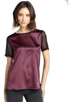 Tahari plum and black printed stretch knit 'Enza' blouse
