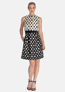 Tahari Polka Dot Jacquard Popover Fit & Flare Dress (Regular & Petite)
