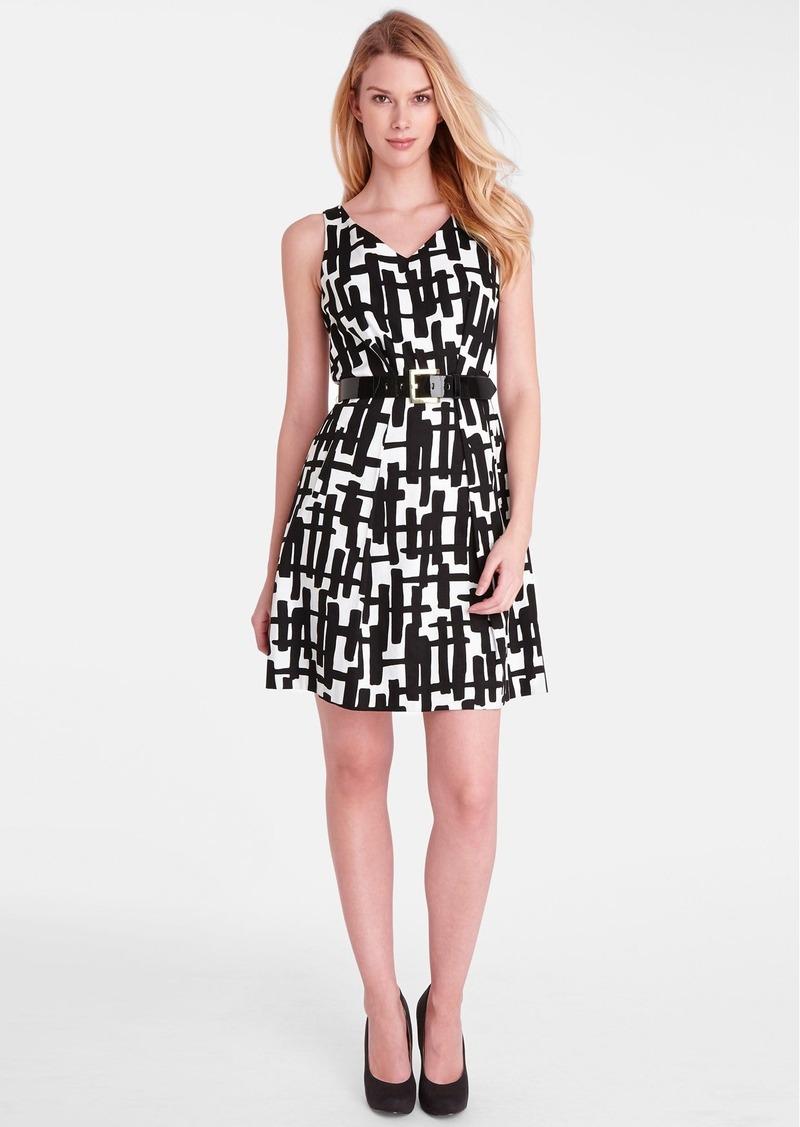 Tahari Print Stretch Cotton Fit & Flare Dress (Petite)