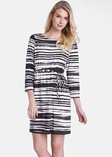 Tahari Print Tie Waist Shift Dress (Regular & Petite)