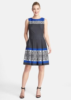 Tahari Print Twill Fit & Flare Dress (Regular & Petite)