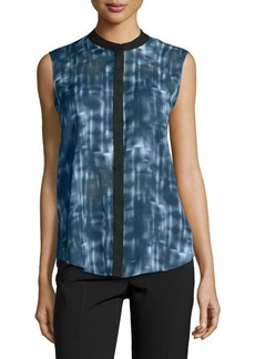 Tahari Printed Sleeveless Crewneck Blouse