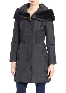 TAHARI Quilted Faux Fur-Trimmed Jacket