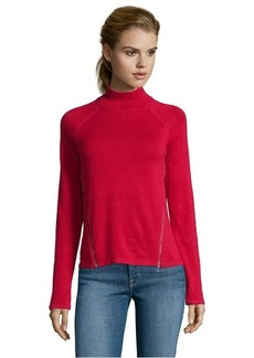 Tahari red cotton rib knit 'Broderick' zip slit mock neck sweater