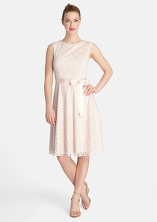 Tahari Ribbon Trim Metallic Lace Fit & Flare Dress