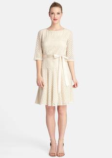 Tahari Ribbon Waist Lace Fit & Flare Dress (Regular & Petite)